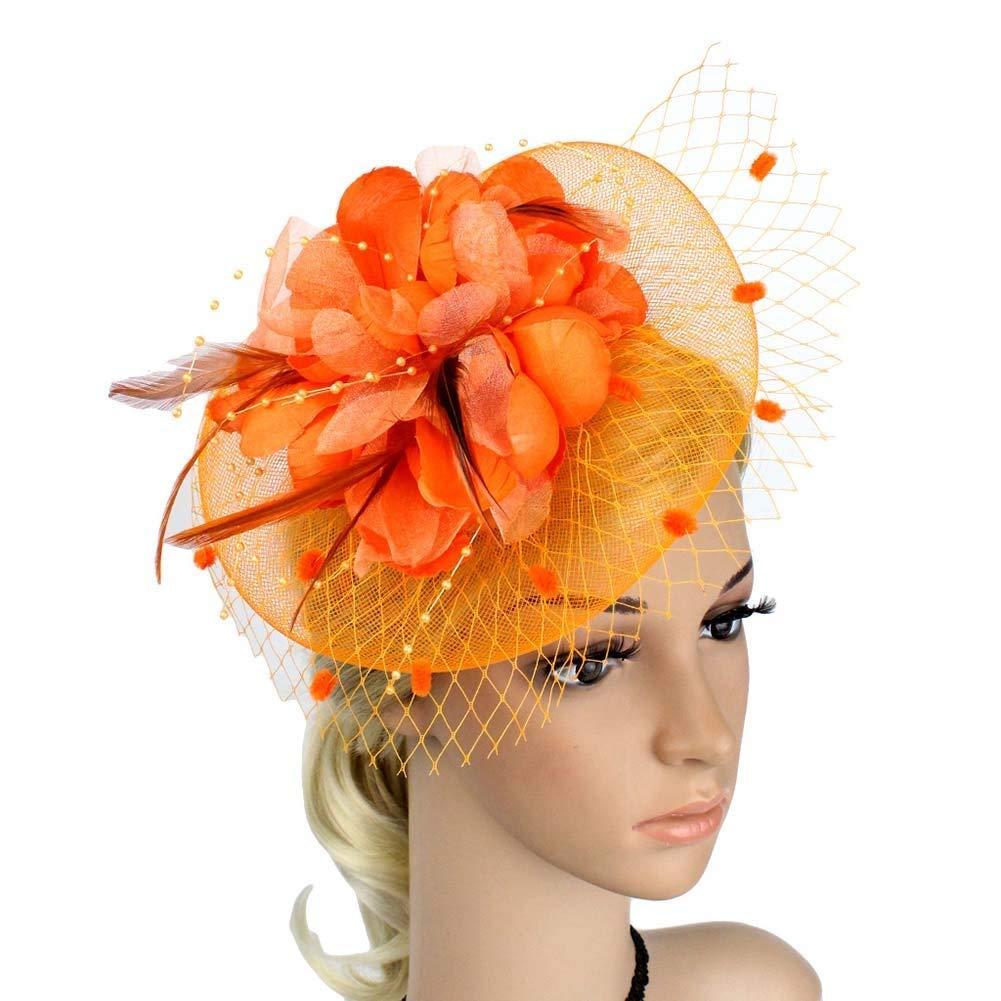 Big Flower Headband Netting Mesh Hair Band Cocktail Hat Party Fascinator, Orange, One Size