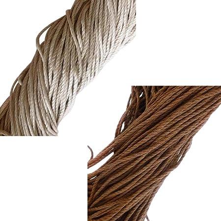 F Fityle 2 Piezas Cuerda Hilo de Algodón Encerado Cordón de ...
