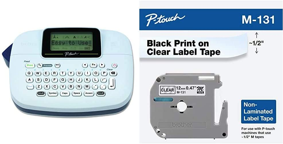 Brother P-Touch, PTM95, Handy Label Maker, 9 Type Styles, 8 Deco Mode Patterns & Genuine P-Touch M-131 Tape, 1/2
