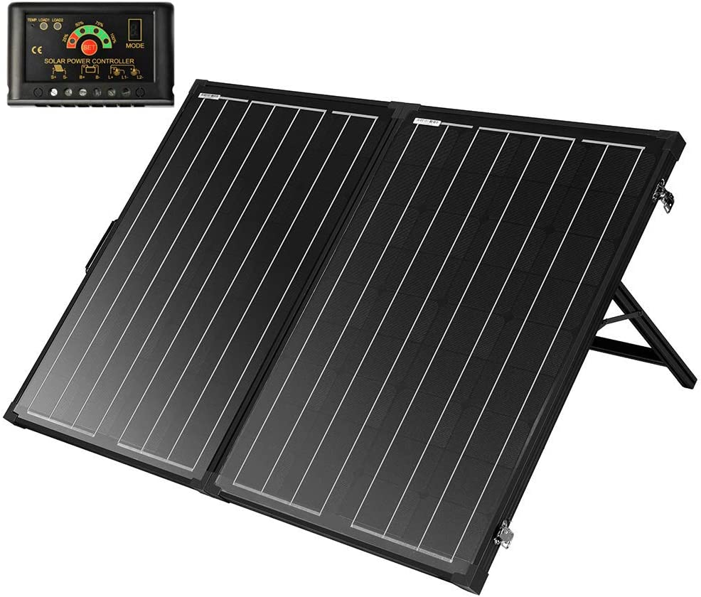SUNGOLDPOWER 130W Portable Foldable Solar Panel Suitcase 12V Monocrystalline Folding Solar Module with LCD Waterproof Charge Controller