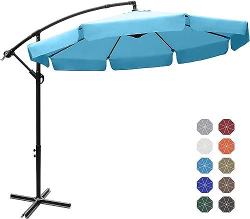 ABCCANOPY 9 Patio Umbrellas Offset Hanging Umbrellas 9FT Outdoor Market Umbrella with Crank Cross Base for Pool Deck,Backyard and Garden, 12 Colors,Wave Edge Turquoise