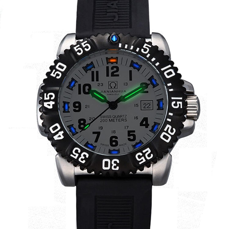 jianianhua Herren Sport Military Tritium Luminous 200 m Wasserdicht Silikon Armband Quarz Taucheruhr Armbanduhr