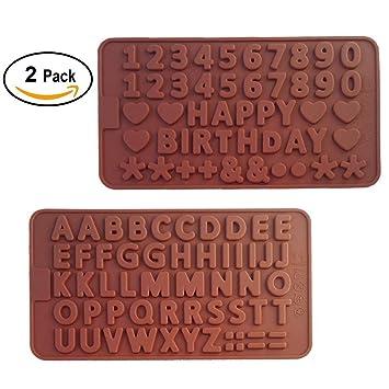 Moldes de silicona con diseño de letras de chocolate para cumpleaños, boda y día de San Valentín, decoración de tartas, juego de 2: Amazon.es: Hogar