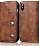 iPhone X Leather Case, FOGEEK iPhone X Wallet Case Flip Leather cover with Credit Card Slot Holder [Kickstand] [STAND Feature] Magnetic Closure Full Protective Cover for iPhone X, iPhone 10(Brown)