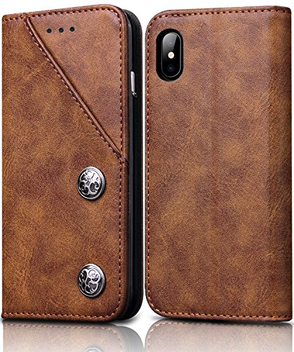 iPhone Xs,iPhone X Leather Case, FOGEEK Wallet Flip Leather Cover with Credit Card Slot Holder [Kickstand] Magnetic Closure Full Protective Case Compatible for iPhone Xs,iPhone X (Brown)