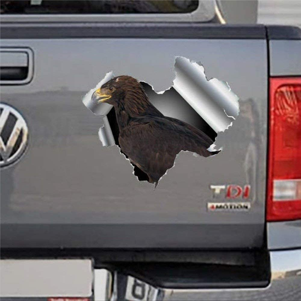 DONL9BAUER Eagle Hawk Overlord Car Stickers Vivid Decor Vinyl Auto Scratch Cover 3D Effect Hole Car Decal Idea for Laptop Travel Case Door Window Bumper Decor