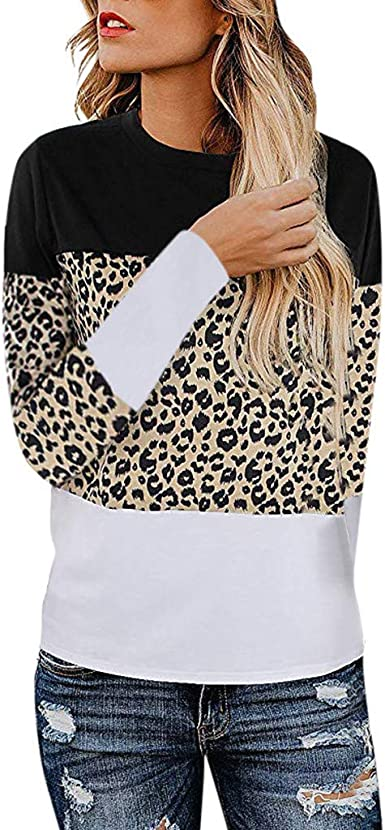 Hotkey Womens Leopard Print Pullover Loose Tops Sweater Casual Blouse T-Shirt Long Sleeve Shirts for Women Sweatshirt