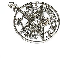 perlascarel Colgante Tetragramaton 30 mm Plata de Ley 925 3 CM. con Regalo de Cadena Plata de Ley a 45 cm y Estuche…