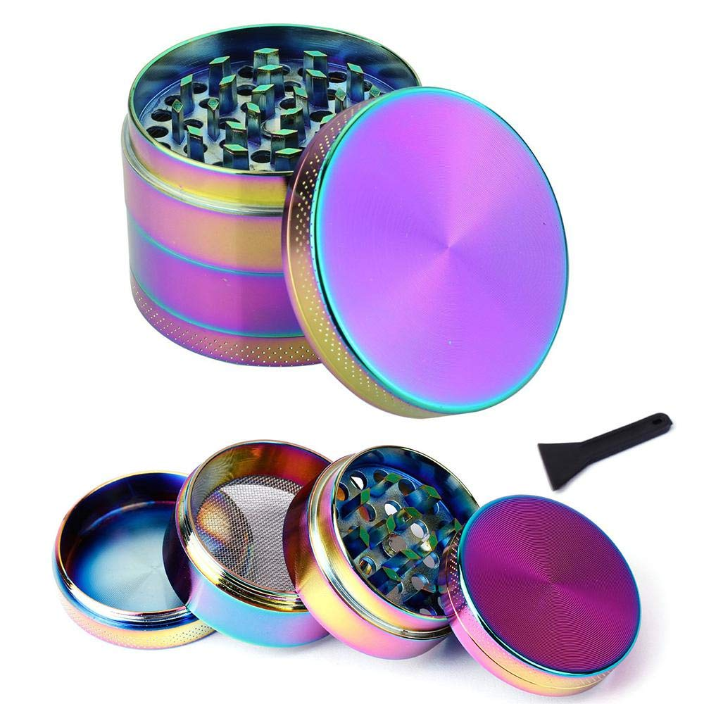 Aolvo Dry Herb Grinder, 2018 Herb/Spice Grinder Pollen Catcher, Herb Saver Grinder, 3 Chambers Metal Grinders, Medical Herb Grinder Magnetic Top, Filter, Diamond Shaped Teeth - Rainbow