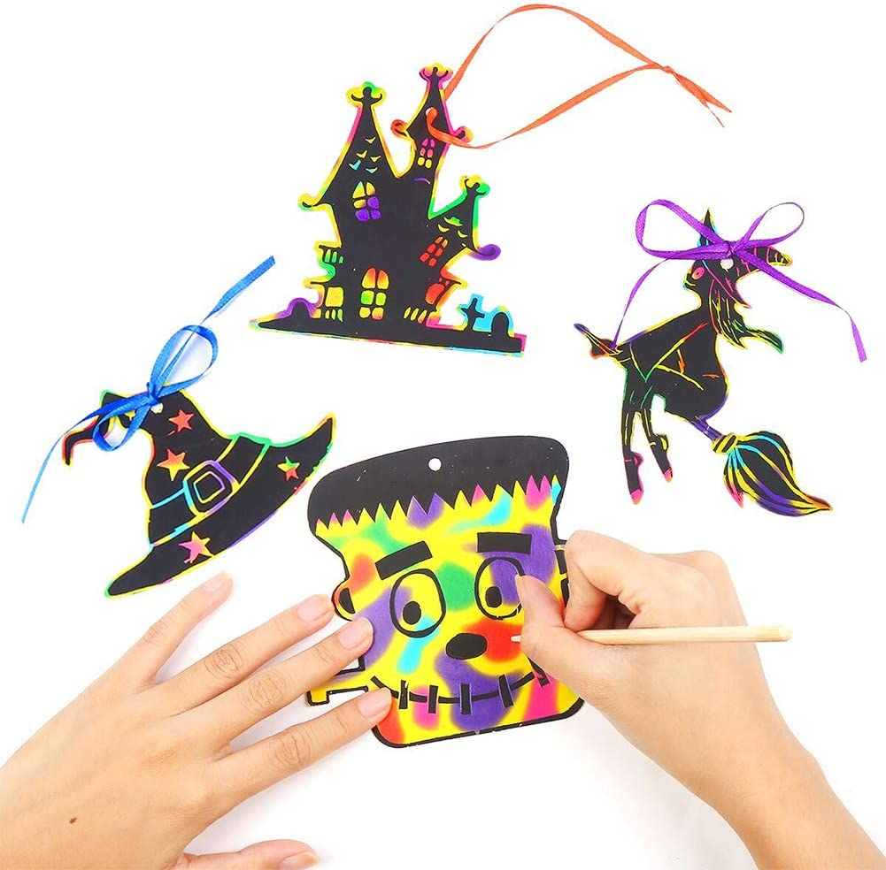 CCINEE 80pcs Halloween Theme Scratch Paper Rainbow Scratch Art Paper Craft Kit with 12pcs Wooden Styluses and 80pcs Ribbons for Halloween Party Supplies