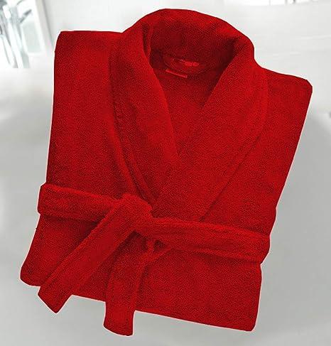 Casabella - Albornoz de rizo de 500 g/m², 100 % algodón, con cuello esmoquin, unisex, algodón, Rojo, S/M: Amazon.es: Hogar
