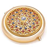 compact Unique Gifts For Women / 24k Gold Electroplate Makeup Mirror by Jinvun: Ultimate Luxury Round Vanity Mirror w/Diamonds/ Sturdy Travel Purse Compact Cosmetic Mirror/Folding Magnifying Beauty Mirror