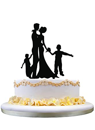 Amazon.com: Happy family wedding cake toppers with son and daughter ...