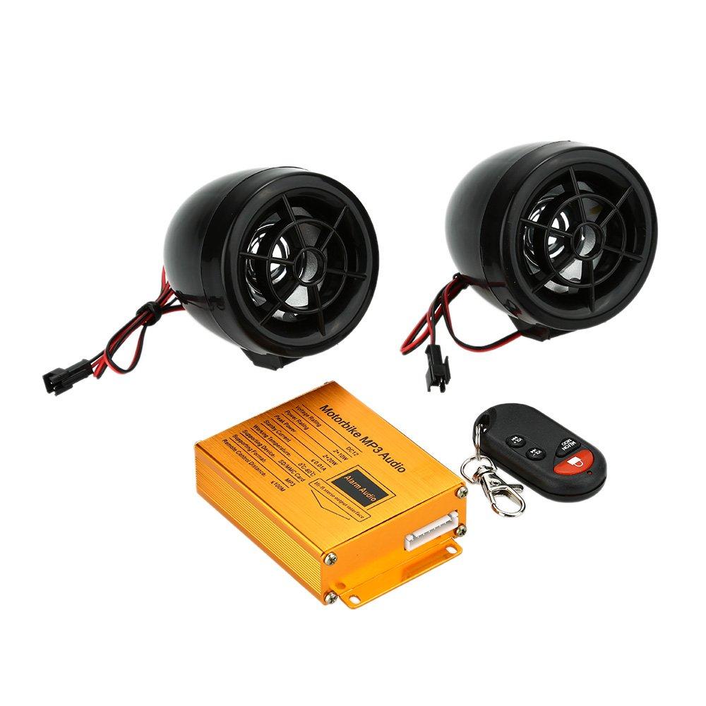 KKmoon Reproductor de Mp3 Altavoces Audio Sistema de Sonido Radio Alarma FM de Seguridad Control Remoto Inalá mbrico con Ranura USB SD para Motocicleta