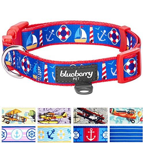 Blueberry Pet 9 Patterns Peace Bon Voyage Nautical Blue Dream Designer Dog Collar, Large, Neck 18