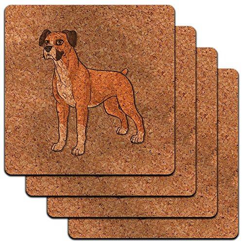 Boxer Pet Dog Low Profile Cork Coaster Set