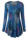 BaiShengGT Women's Loose Fit Flared Tunic Top Medium T06 Blue Print