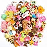 100 PCS Lots Mixed Cute Snacks Food & Cake Resin Flatback Cabochon Crafts for DIY Handmade Craft Making Scrapbooking