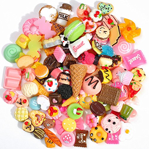 100 PCS Lots Mixed Cute Snacks Food & Cake Resin Flatback Cabochon Crafts for DIY Handmade Craft Making Scrapbooking by fantastic me
