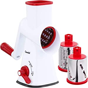 Rotary Cheese Grater, Mandoline Vegetable Slicer with 3 Detachable Drum Blades, Rotary Grater for Kitchen Dishwasher Safe, Efficiently Cheese Grinder for Vegetables, Nuts, etc