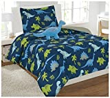 Fancy Linen 6 pc Twin Dinosaur Blue Light Blue Grey Green Comforter Set With Furry Buddy Included New # Dino Blue