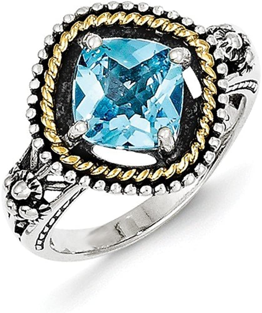 Shey Couture Sterling Silver with 14k Swiss Blue Topaz Ring One Size