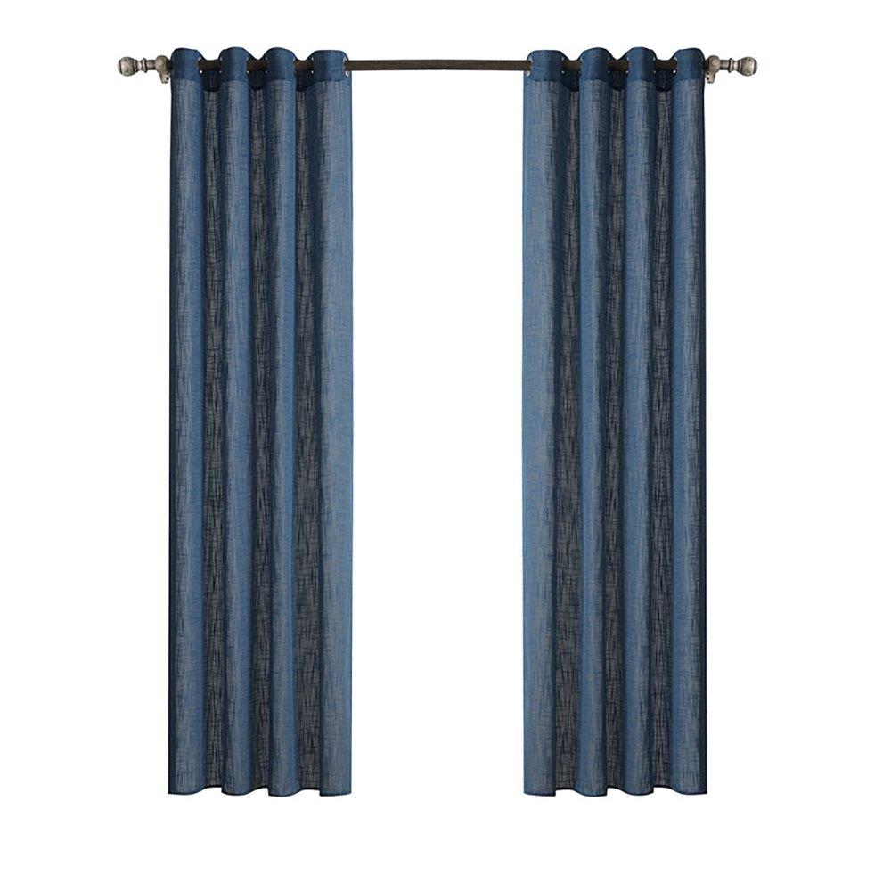 ChezMax Sheer Window Curtain Grommet Panels Window Drapery Panels 52 W x 63 L Navy CM-BB-C20919-52x63