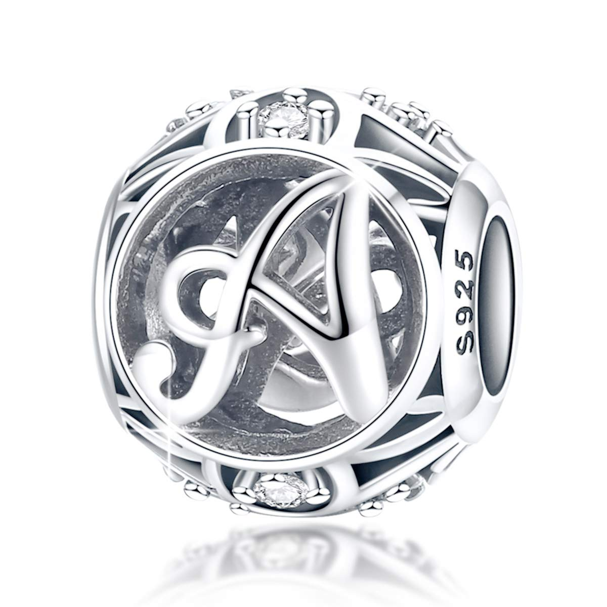 FOREVER QUEEN Letter Charm Initial A-Z Alphabet Charm Dangle Charm for Bracelet Necklace 925 Sterling Silver CZ Beads Charm Personalized Gift Jewelry Mother's Day