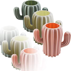 LeonBach 3 Pack Cactus Cute Pencil Holders, Pen Cup Cactus Storage Containers Cactus Office Decor Desk Accessories, Pink & White & Green