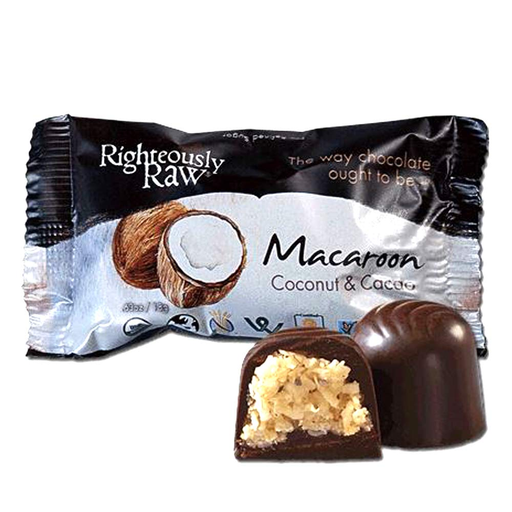 Dark Chocolate Covered Coconut Macaroons from Righteously Raw - Pure Organic Dark Chocolate with a Chocolate coating and Coconut Truffle! - No Refined Sugars with 12 Macaroons individually wrapped!