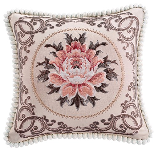 nioBomo Decorative Embroidered Square Pillowcase Throw Cushion Cover Cotton Linen 18 Inches By 18 Inches Pattern9 (Sofa Presley)