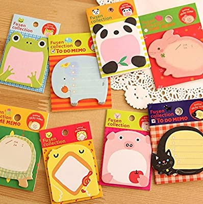 Sticky Notes, 8-Packs Self Sticky Notes in Different Shapes, Creative Self-Stick Notes Colorful Super Sticky Notes, Memo Notes for Students, Home, Office -Easy Post and Use (Animal)