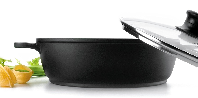 Negro Cacerola Baja con Tapa de Cristal Forte de 24 cm Aluminio Lacor 25823