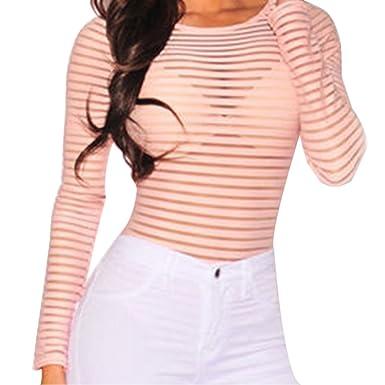 4946b40372 Bocaoying Women s Sexy See Through Sheer Striped Long Sleeve Bodysuit  Romper Tops Clubwear Deep Pink S