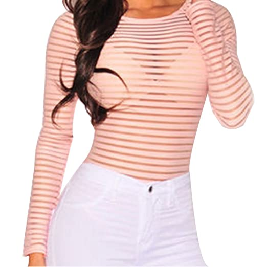 71b23670e8e Bocaoying Women s Sexy See Through Sheer Striped Long Sleeve Bodysuit  Romper Tops Clubwear Deep Pink S