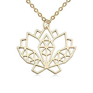 Amazoncom Senfai Stainless Steel Geometric Lotus Flower Necklace