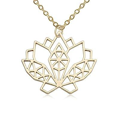 Amazon.com: senfai geométrico flor de loto collar de acero ...
