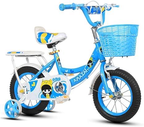 WY-Tong Bicicleta Infantil Bicicletas Infantiles Bebé niña Bicicleta con Respaldo 2-10 años Princesa Coche Rosa/Rosa/Azul: Amazon.es: Deportes y aire libre