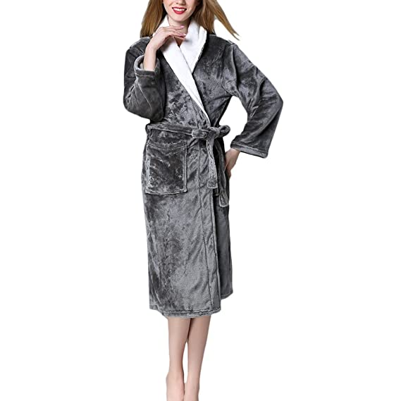 b2f66dc9b7 Zhhlaixing Womens Mens Supersoft Luxury Fleece Dressing Gown Robe ...