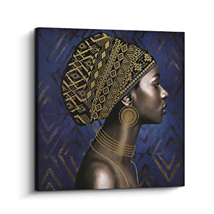 Amazoncom Pi Art Framed Afro Art Canvas Print Blue And Gold Wall