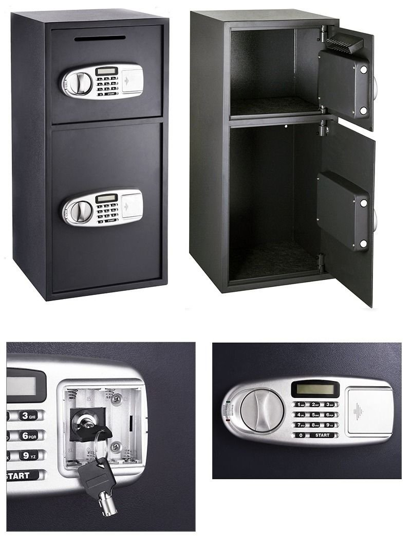 9TRADING New Digital Double Door Safe Depository Drop Box Safes Cash Office Security Lock, Free Tax,Delivery Within 10 Days