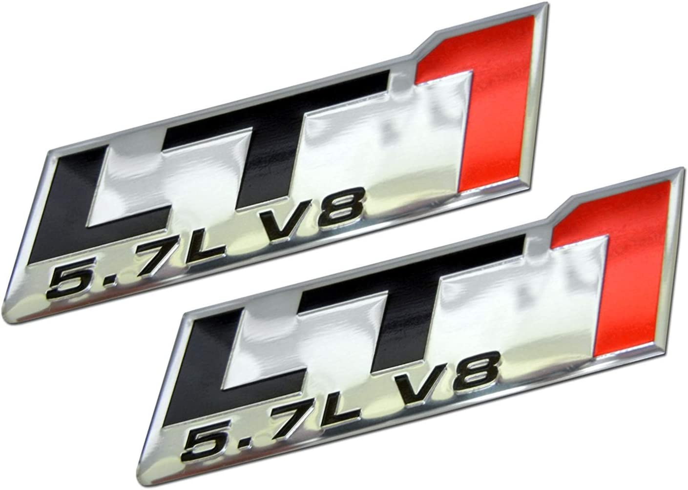 LS1 black 2pcs LS1 Embossed Black on Highly Polished Silver Real Aluminum Auto Emblem Badge Nameplate Compatible for Chevy Corvette Camaro Pontiac HSV Opel