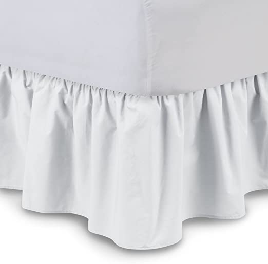 Full Bed Skirt White Sheer Cotton Voile Ruffled 18 inch drop Lined Dust Ruffle