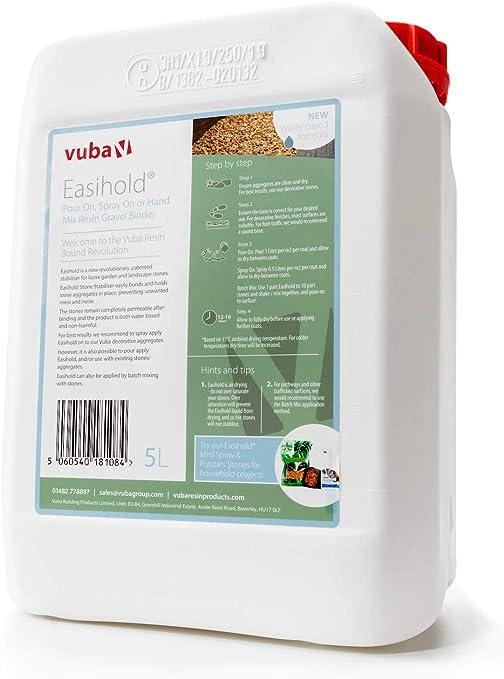 Vuba - Archivador de piedra para fijar piedras sueltas, 5 litros (mezcla de poner/rociar y mano): Amazon.es: Jardín
