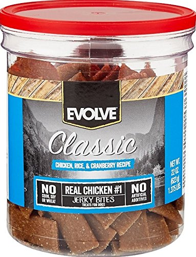 Evolve Classic Chicken, Rice & Cranberry Recipe Dog Treats, 22-Ounce Jar