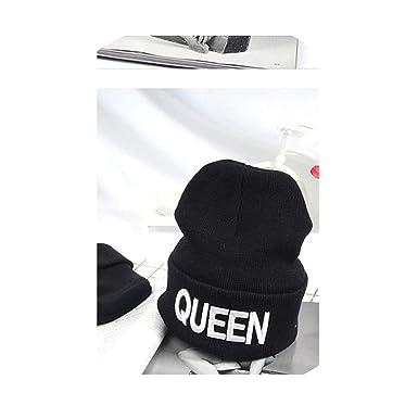 62a8b1d5132b King Queen Beanie Men Women Stocking Hat Beanies Skullies Winter Hats Cap  Knitted Hiphop Hat Female