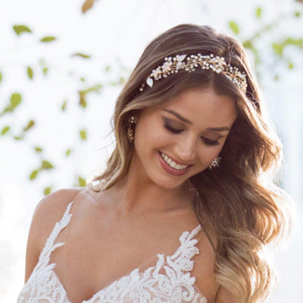 SWEETV Gold Bridal Headband Bohemian Headpiece Crystal Pearl Hair Vine Flower Halo Wedding Hair Accessories SVJFS160032CP54