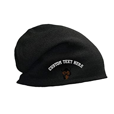 50fe83bcf7f Custom Text Embroidered Safari Hunting Logo Unisex Adult Cotton Acrylic  Slouch Beanie Skully Hat - Black