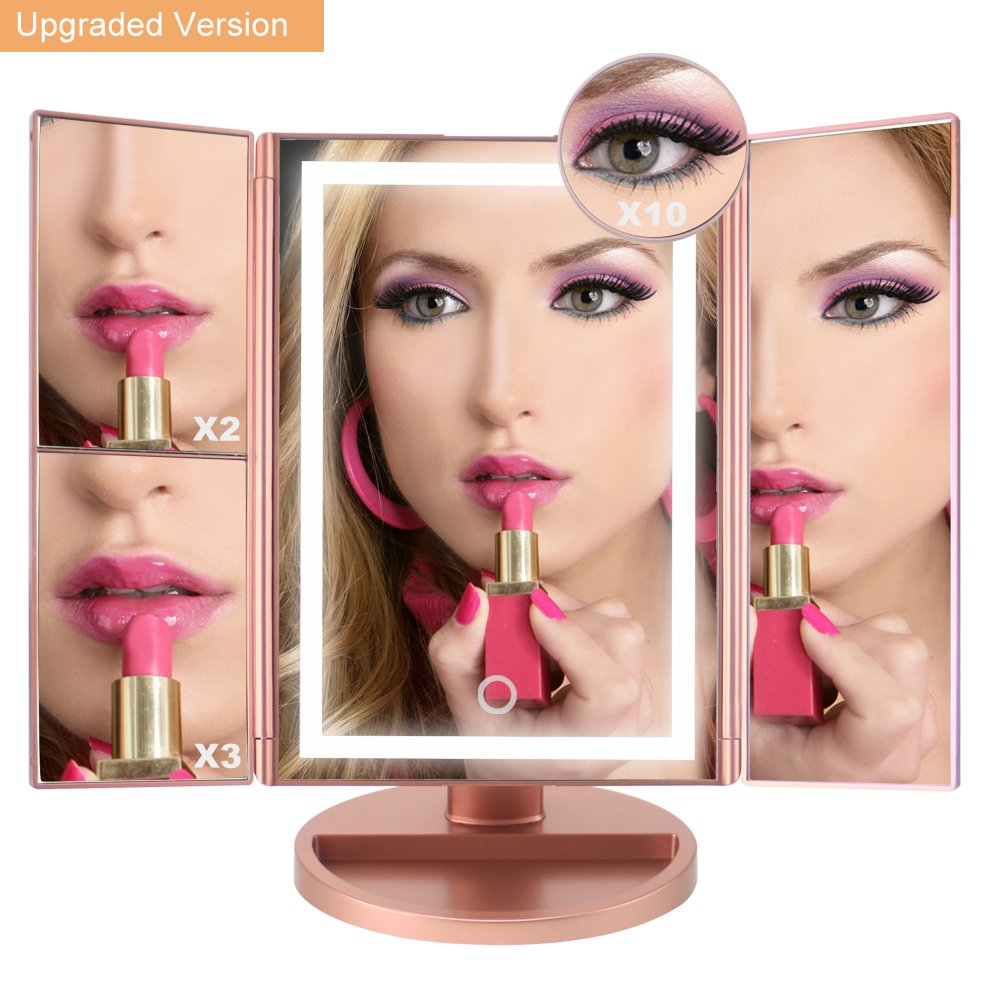 Lighted Makeup Mirror, Light Up LED Vanity Mirrors with 10x/3x/2x Magnifying, USB/Battery Dual Electric Power,Brightness Touch Adjustable, Tabletop Trifold Cosmetic Mirror Brighter(22 Bulbs)