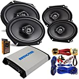 "(4) Kenwood KFC-C6895PS 6x8"" 360 Watt 3-Way Speakers with 4 Channel 1000W Stereo Power Car Amplifier + Amp Kit"